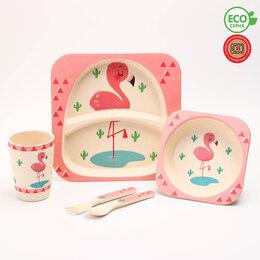 Одноразовая посуда - Набор детской бамбуковой посуды 'Розовый фламинго', тарелка, миска, стакан, п..., 0