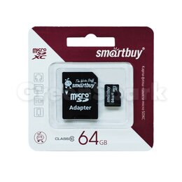 Карты памяти - Карта памяти MicroSD 64GB Smartbuy Class 10 SDXC + адаптер SD, 0