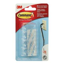 Держатели для проводов - Легкоудаляемая клипса Command для проводов, прозрачная, средняя, 10 мм, 4 шт, 0