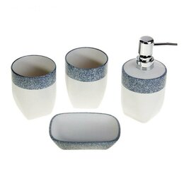 Мыльницы, стаканы и дозаторы - Набор аксессуаров для ванной комнаты 4 предмета - Стоун, 0