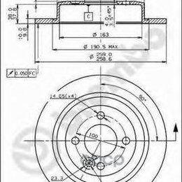 Тормоза - Диск Торм.Зад.Mini Mini R50, R53 06/01-09/06 Brembo арт. 08.9163.10, 0