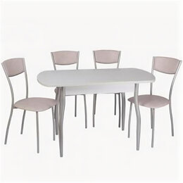 Столы и столики - Обеденный комплект [(1+4) Пластик стол + 4 стула Амарант (эмаль)], 0