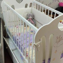 Кроватки - Детская кроватка с маятником и ящиком, 0