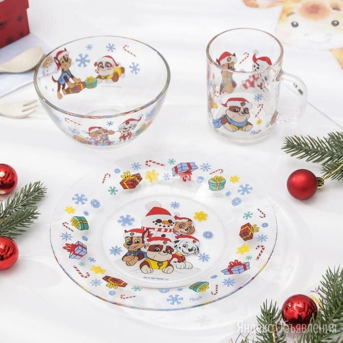 Набор посуды детский 3 предмета 'Щенячий патруль.Новый год' по цене 1273₽ - Сервизы и наборы, фото 0