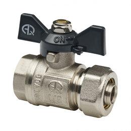 Краны для воды - Краны AQUALINK Кран шаровый для MP труб под обжим AQUVALINK Ду-20х1/2 внутрен..., 0