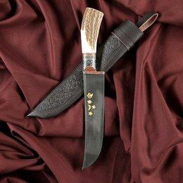 Ножи кухонные - Нож Пчак Шархон - Большой, косуля, широкая рукоять, гарда олово гравировка. Ш..., 0