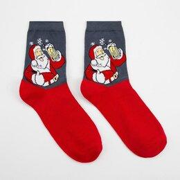 Носки - Носки мужские нмнг1123-05-03 Дед мороз с кружкой пенного цвет красный, р-р 27..., 0