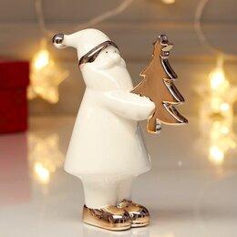 Новогодние фигурки и сувениры - Сувенир керамика 'Дед Мороз с ёлочкой' розовое золото 13,8х6х10,8 см, 0