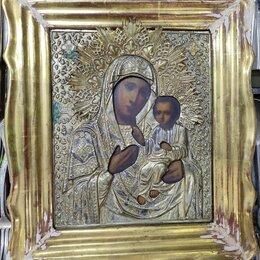 Иконы - икона Иверская, латунный оклад,19 век, 0