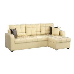 Диваны и кушетки - Угловой диван «Ливерпуль», механизм дельфин, экокожа, цвет бежевый, 0
