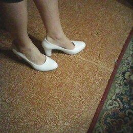 Туфли - туфли белые новые, ткань кожа, размер 40, цена 2000, 0