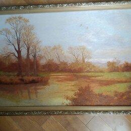 """Картины, постеры, гобелены, панно - Картина ручная вышивка гладью шелк по шелку  """"Пейзаж с рекой"""",КНДР, 0"""