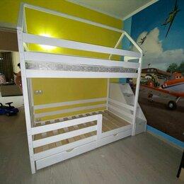 Кроватки - Детская кроватка из массива сосны с ящиками, 0
