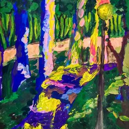 Картины, постеры, гобелены, панно - Этюд гуашью В парке, 0