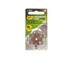 Батарейки - Воздушно-цинковые батарейки «GP» Для слуховых аппаратов ZA312, 6шт, цена за 1шт, 0