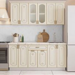 Мебель для кухни - Кухонный гарнитур Бергамо 1.8 Кремовый с платиновой патиной., 0
