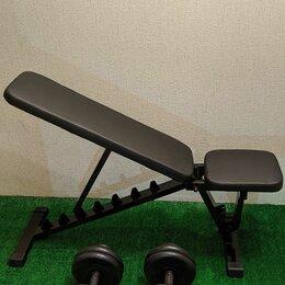 Другие тренажеры для силовых тренировок - Гантели по 30 кг и скамья силовая Новые MB Barbell, 0