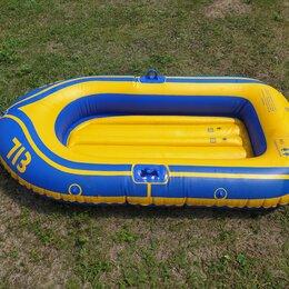 Аксессуары для плавания - Лодка надувная синяя с желтым с веслами, 0