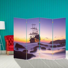 "Ширмы - Ширма ""Корабли. Декор 30"" 200 × 160 см, двухсторонняя, 0"