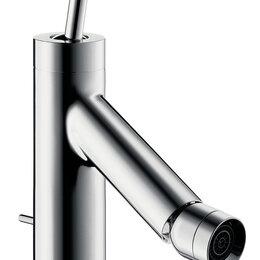 Комплектующие - Смеситель Axor Starck 10211 для биде однозахватный, с донным клапаном, излив ..., 0