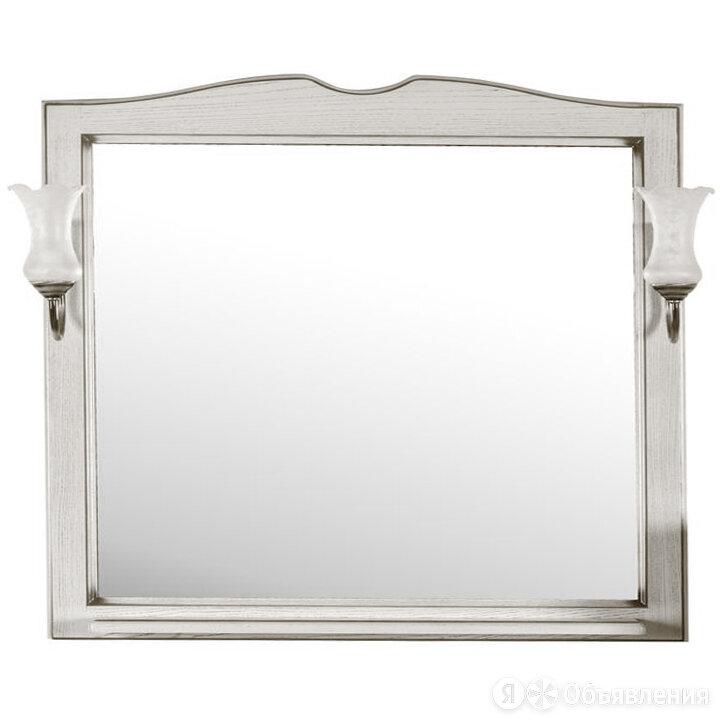 Зеркало АСБ Верона 105 (628х864х100) с полкой и светильниками, цвет белый по цене 15710₽ - Мебель для кухни, фото 0