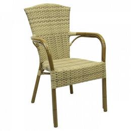 Плетеная мебель - Кресло плетеное из искусственного ротанга слоновая кость Colombo, 0
