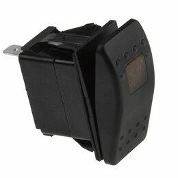 Электроустановочные изделия - Переключатель двухпозиционный (ON)-OFF 12В/20А 3Р с подсветкой без фиксации 1..., 0