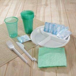 Наборы для пикника - Набор одноразовой посуды «Праздник», 6 персон, цвет МИКС, 0