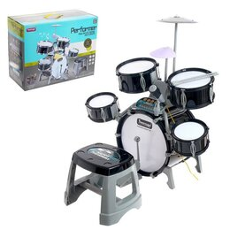 Ударные установки и инструменты - Барабанная установка «Блэк бит», со светомузыкой, микрофоном, пианино и стуль..., 0