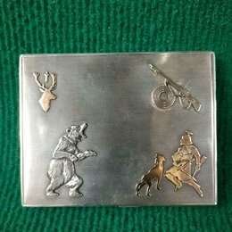 Другое - Портсигар серебро 935 проба Охота Европа, 0