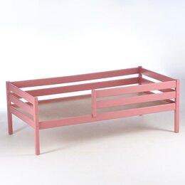 Кровати - Кровать Сева, спальное место 1400х800, цвет Розовый пастельный, Массив Берёзы, 0