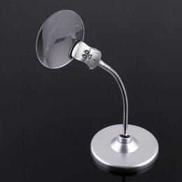 Лупы - Лупа настольная 2,5х, 8х, диаметр 9см, на гибкой ножке, с подсветкой, 0
