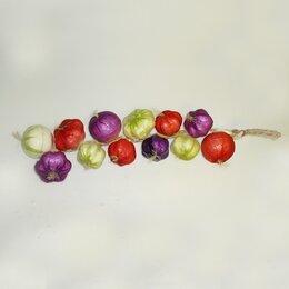 Лук-севок, семенной картофель, чеснок - Чеснок цветной на ветке пенопласт 45см, 0