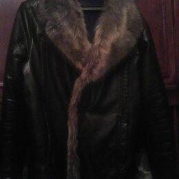 Куртки - Мужская кожаная куртка с мехом горного козла реглан, 0