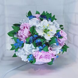 Ночники и декоративные светильники - Светильник букет с гортензией и розами, 0