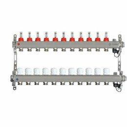 Коллекторы - Коллектор для теплого пола на 11 контуров Taen с расходомерами (гребенка), 0