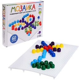 Мозаика - Мозаика круглая, 60 элементов по 15 мм, 6 цветов, 0