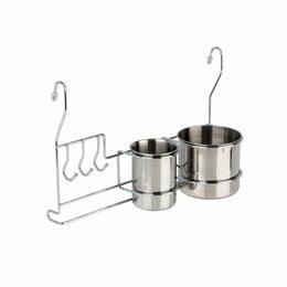 Витрины - Полка на рейлинг со стаканами для столовых приборов с крючками, хром 340х140х225, 0