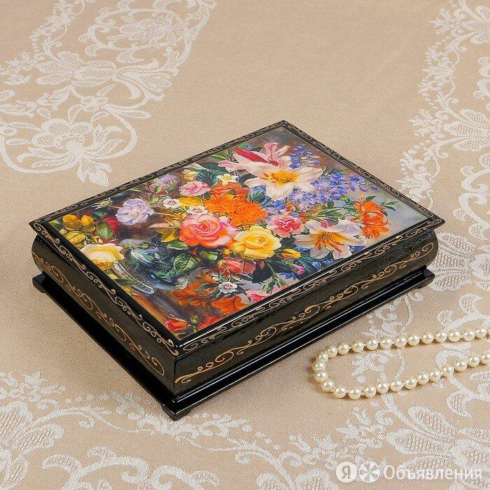Шкатулка 'Цветы в прозрачной вазе', 17x22 см, лаковая миниатюра по цене 939₽ - Шкатулки, фото 0