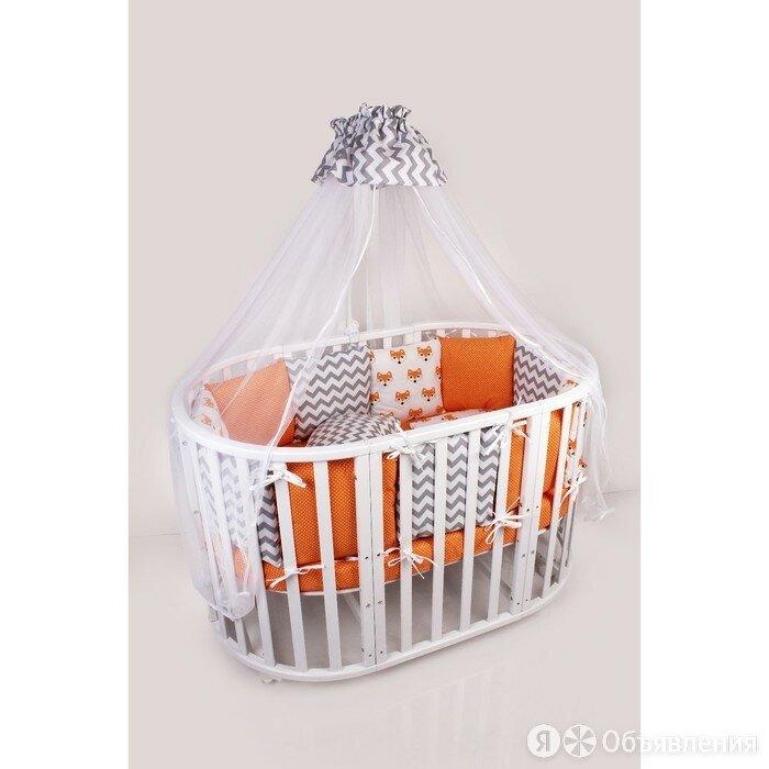 Комплект в кроватку Lucky, 19 предметов, поплин/бязь, оранжевый по цене 6900₽ - Постельное белье, фото 0