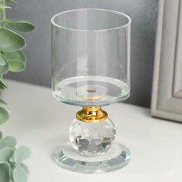 Настенно-потолочные светильники - Подсвечник стекло на 1 свечу 'Прозрачность' 9,2х5х5 см, 0