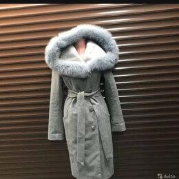 Пальто - Пальто зимнее женское серое с мехом, 0