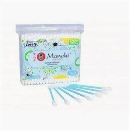 """Ватные палочки и диски - Палочки ватные гигиен. """"Maneki"""" Lovely, с голубым пластиковым стиком, в zip-п..., 0"""