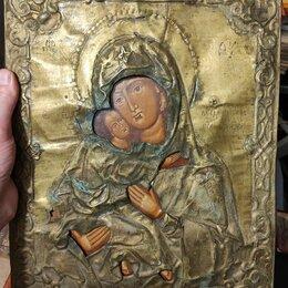 Иконы - икона Владимирская,латунный оклад,старинная , 0