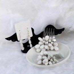Свадебные украшения - Свадебные украшения гребень для волос и серьги из кахолонга, 0