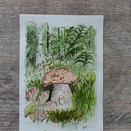 Картины, постеры, гобелены, панно - Осенние грибы рисунок акварелью, 0
