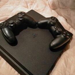 Игровые приставки - Черная ps4 slim 2 геймпада, 0