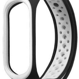 Аксессуары для умных часов и браслетов - Ремешок для Mi Band 5 черный с белым, 0