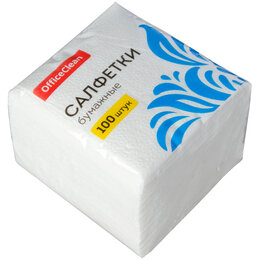 Бумажные салфетки, носовые платки - OFFICE CLEAN Салфетки бумажные OFFICE CLEAN 1сл. 24х24, 100шт, 0