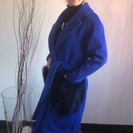 Пальто - Синее пальто с мехом, 0